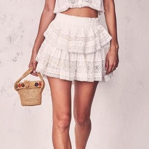 NWT LoveShackFancy Ruffle Mini Skirt White L